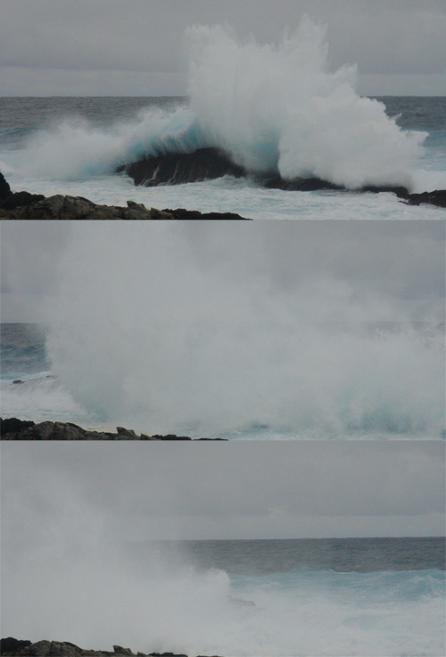 3 waves crashing